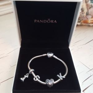 Pandora bracelet in box with charms